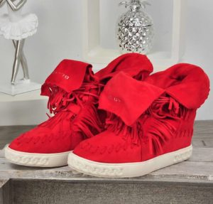 buty na koturnie czerwone